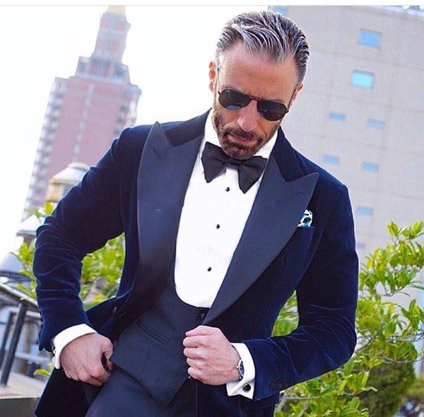 Navy Blue Velvet Men Suits For Wedding Prom Three Pieces (Jacket+Pants+Vest) Slim Fit Men Suit Best Man Groom Tuxedos Regular Style