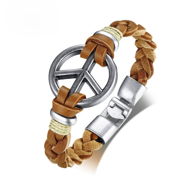 Símbolo de paz retro para hombre pulsera trenzada hecha a mano de cuero genuino cuerda pulseras brazaletes 8.46