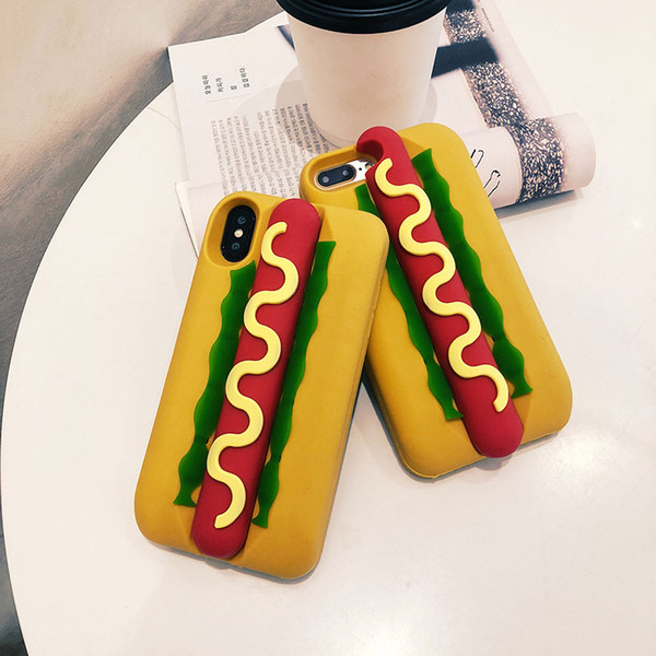 Kawaii 3D Cartoon Sausage Food Case For iPhone 5 6 7 8 Soft Rubber Silicone Funny Shockproof Protective Case Cover For iPhone X XS Max XR