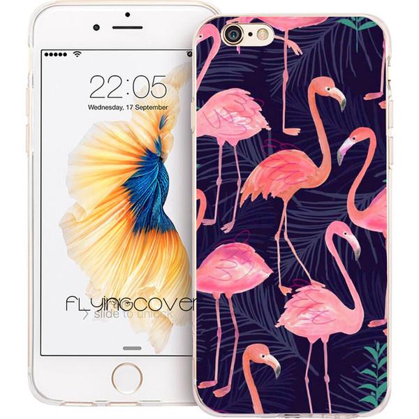 Funda de silicona TPU Flamingo Clear Capa Hot Pink para iPhone 10 X 7 8 Plus 5S 5 SE 6 6S Plus 5C 4S 4 Cubierta de iPod Touch 6 5.