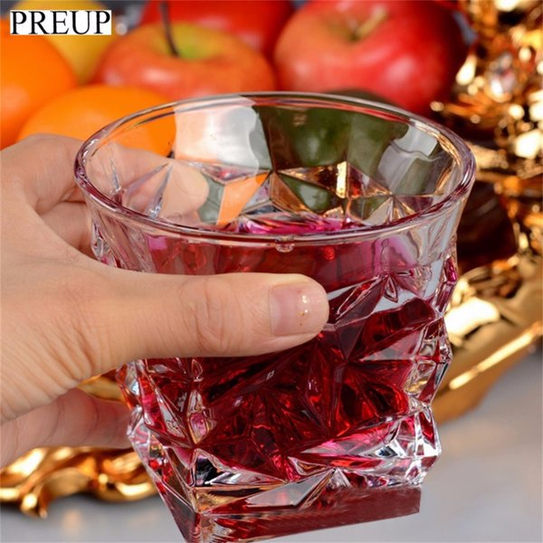 OUTAD 2017 New Arrival 6Pcs/set 250ML Transparent Crystal Whisky Glasses Square Wine Cup For Bar KTV Creative Wine Glass