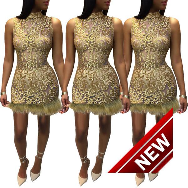 New Pattern Perspective Close Suit-dress Paillette Villus Sexy DRESSES FOR Night club maxi Dress Nightclub Skirt ladies lace women 2 pieces