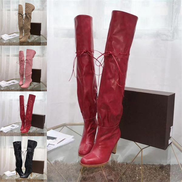 """3.5"""" Heel Original Canvas Over The Knee Boot Luxury Brand Boots Booties Red Soft Leather Cinched Self-Tie Detail Casual High Shoes 0G018"""