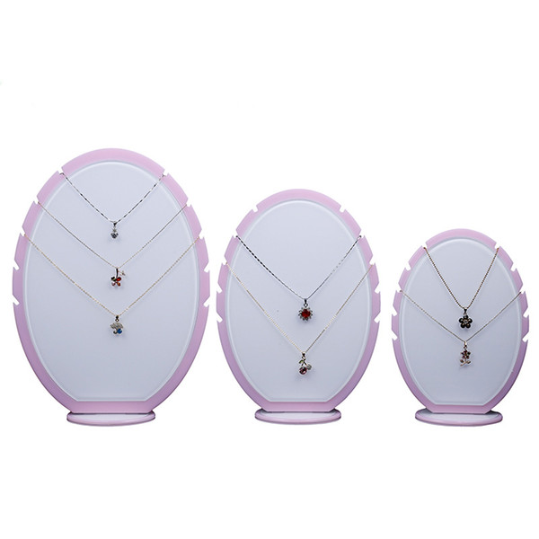 Jewelry Necklaces Display Prop Stand Oval Shape White Acrylic Boutique Shop Showcase Fair Market Booth Jewellery Charms Pendant Organizer
