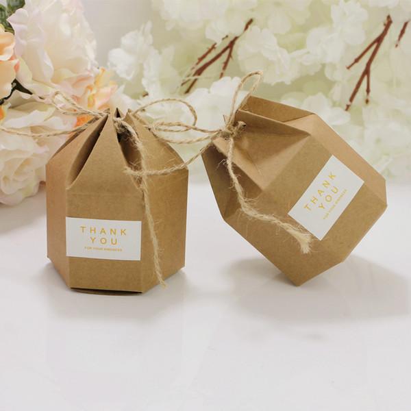 Wholesale 50 PCS/Lot DIY 7*4*9CM Kraft Cardboard Gift Boxes Hexagonal Carton Brown Candy Box Party Supplies Free Shipping