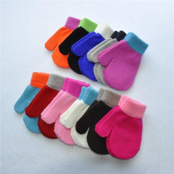 Boys Girls Winter Mittens kids baby Magic Knitted Gloves Solid Candy Color patchwork Glove Student Warm Anti Scratch Finger mitt mitten sale