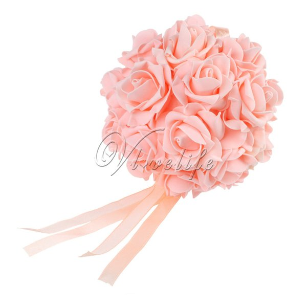 "1Piece Handmade 6"" Wedding Bouquet Artificial Flower Bouquet PE,Soft Foam Rose Kissing Balls For Wedding Decor Top Quality"