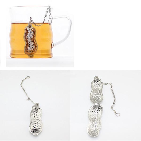 New 6*2.3cm Peanut Shaped Tea Strainers Stainless Steel Infuser Herb Loose Leaf Filter Tea Bags