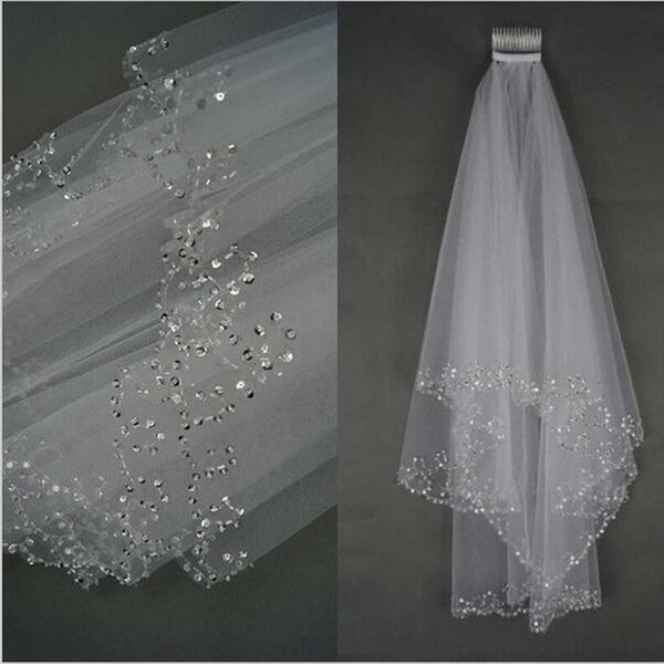 Zarif kısa gelin düğün veils ile 75 cm combe beyaz peçe düğün için tül peçe 2018 yeni varış