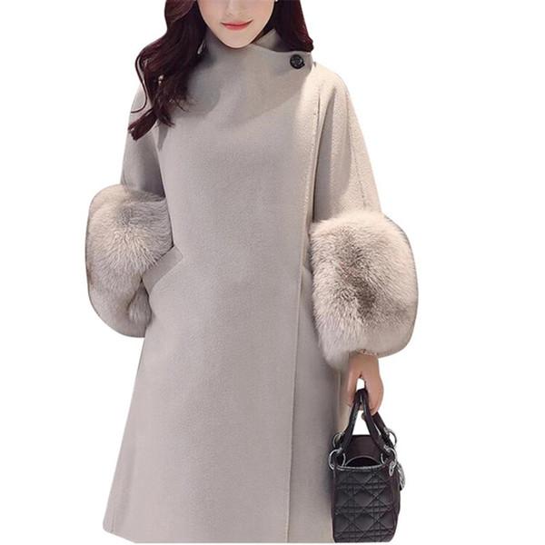 Großhandel Faux Pelz Ärmel Winter Warme Frauen Jacke Mantel 2018 Einfarbig Wolle Lose Outwear Mantel Für Weibliche Kleidung Woolen Casaco Feminino Von