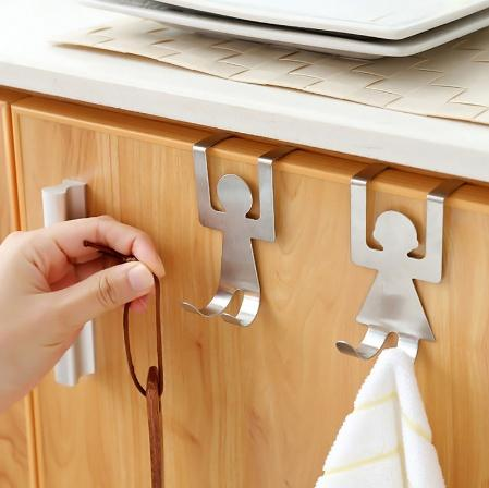 2pcs/set Stainless Steel Lovers Shaped Hooks House Kitchen Pot Pan Hanger Clothes Storage Rack Tool Doo