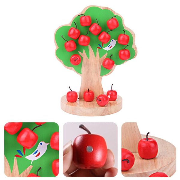 best selling Building Block Kits Wooden Magnetic Apple Tree Toy Learning Math Puzzle Kindergarten Teaching Aid Kids Early Educational Toy Gifts