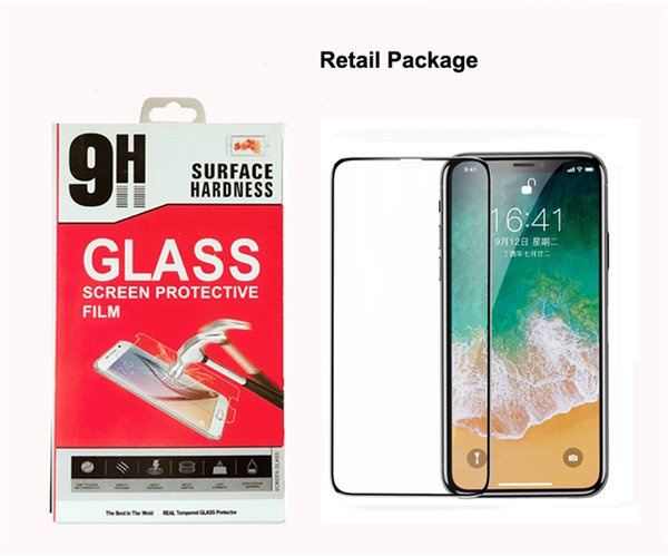 Full Cover Tempered Glass Screen Film for iPhone X 8 7 Colored Screen Protector Full Glue 2.5D 0.33MM 9H Retail Package