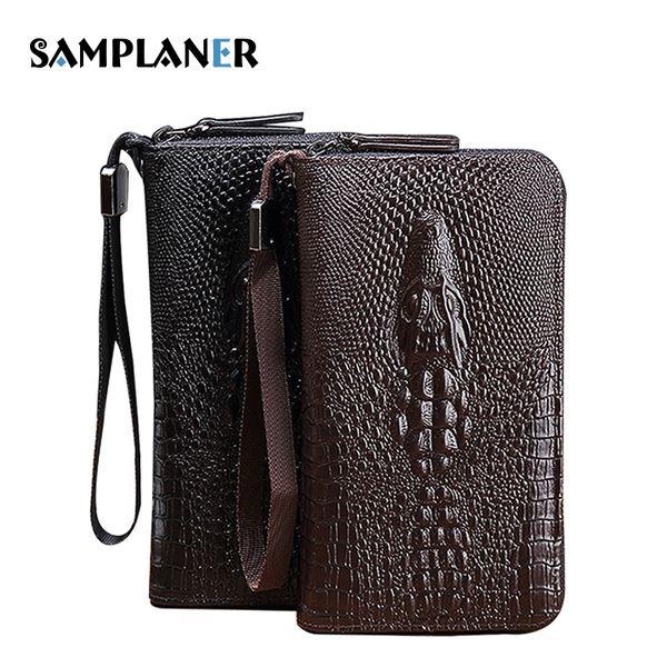 Samplaner 3D Embossing Crocodile Men Wallet Long Zipper Wallet Business Male Clutch Bags for Men Card/ID Case Clutch Wristlets