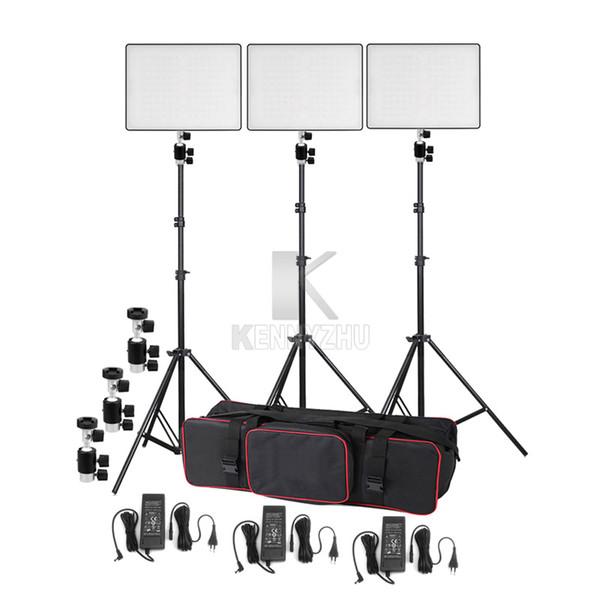 3x Yongnuo YN600 Hava Ultra-ince Led Video Işık Aydınlatma Kiti Bi-renk 3200-5500 K + Işık Standı Boom Kol + Güç Adaptörü Çantası