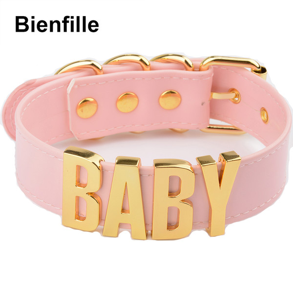 whole salePersonalized Charm Kawaii Gold Metal Baby Letters Choker Necklace Women Girl PU Pink Leather Punk Harajuku Collar Word Necklace
