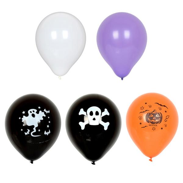 100pcs / set Pumpkin Ghost Balloons Decorazioni del cranio di Halloween Palloncini in lattice Giocattoli gonfiabili Rifornimenti del partito di Halloween per i bambini