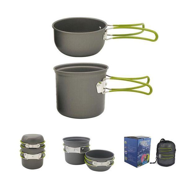 Açık 1-2 Kişi Eloksallanmış Alüminyum yapışmaz Pişirme Tencere Kamp Yürüyüş Sırt Çantası Piknik Tencere Pot Kase Seti