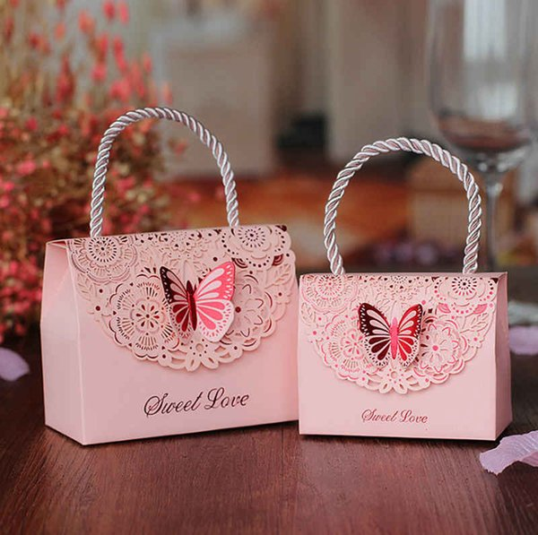 DIY Butterfly Handbag Design Candy Box Bag Chocolate Paper Gift Package for Birthday Wedding Party Favor Decor Supplies