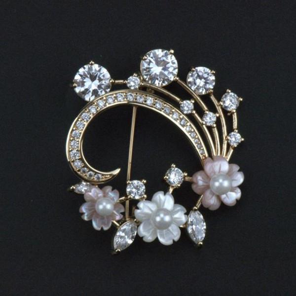 Nueva flor de perla de flor de shell blanco y rosa natural micro-incrustaciones de circón broche elegante estilo elegante vestido corsage