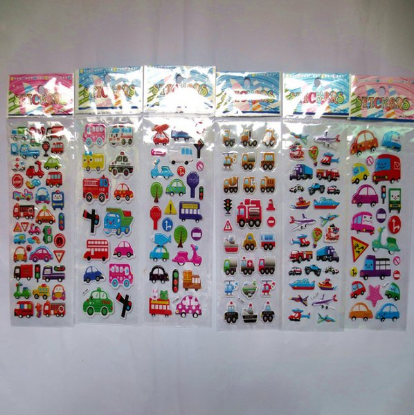Cartoon Traffic Tool Car stickers for kids children learning toys awards