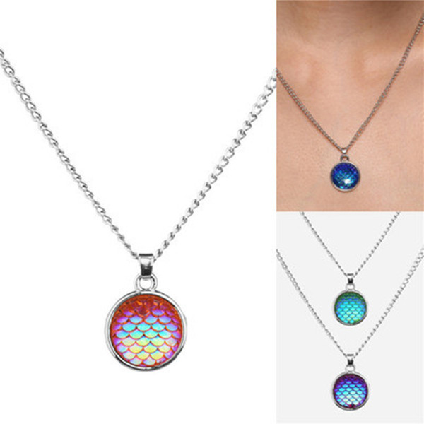 45cm Fashion Drusy Druzy Necklace Mermaid Fish Scale Alloyl necklace For Women Lady Jewelry 4color DHL Free Shipping