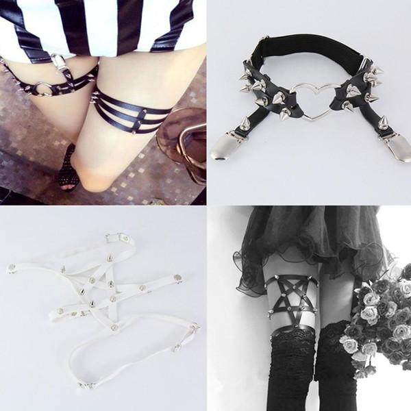 New Garter Belt Women Nice Sexy Harajuku Handmade Punk Rock Leather Elastic Suspender Leg Ring Belt Gothic Night Party Clothing Accessory