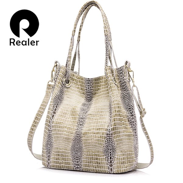REALER women genuine leather handbag extra large capacity shoulder messenger bags ladies crossbody bag female leather tote bag D18101303