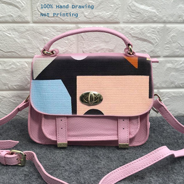 Gamystye Handmade Hand Drawing Lady Handbag Cow Leather Zippers Crossbody Bags Pink Mini Bag Multi-Pocket Purses Clutch Bag
