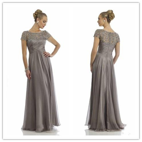 Elegant Grey Crystal Chiffon Mother Dress Short Sleeve Rhinestone Ruffles Empire Scoop Neckline Mother Of The Bride Dresses Evening Dress