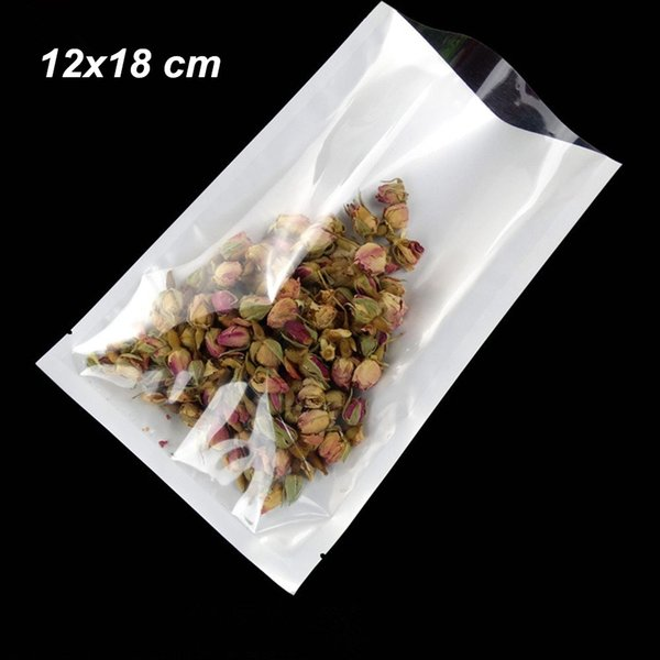 12x18cm White Open Top Plastic Heat Sealable Vacuum Storage Pouch for Beans Dried Flower Front Clear Poly Plastic Heat Seal Sample Poly Bags