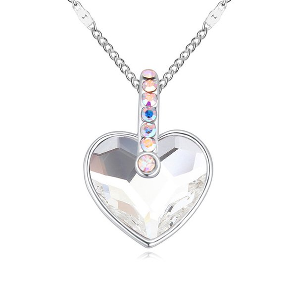 Heart shape Rhodium Plated necklace made with Austrian Crystals from Swarovski for women gift 2018 Trendy