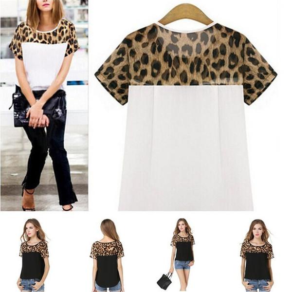 Sıcak satış 2 renkler Leopar tane tasarım bayan Kısa kollu Şifon gömlek Moda dikiş Rahat T-shirt T3I0333