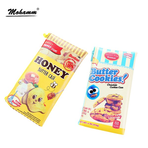 Cute Kawaii Cookies Potato Chips PU Waterproof Pencil Case Storage Organizer Pen Bag School Office Supply Gift Stationery