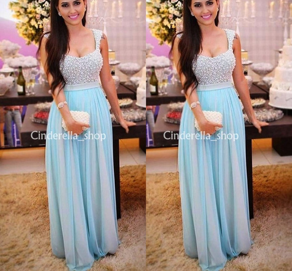 Light Sky Blue Arabic Evening Dresses Spaghetti Beading Pearls A Line Long Saudi Arabia Plus Size Prom Party Gowns Vestidos Customized