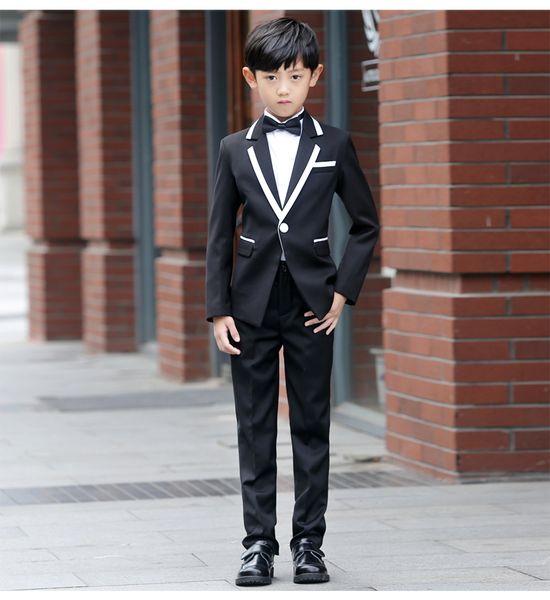 New Fashion White Balck Boys Baby Suit Children Blazers Boy Suit For Formal Weddings Prom Dress Wedding Dress Spring Autumn Boy Suits