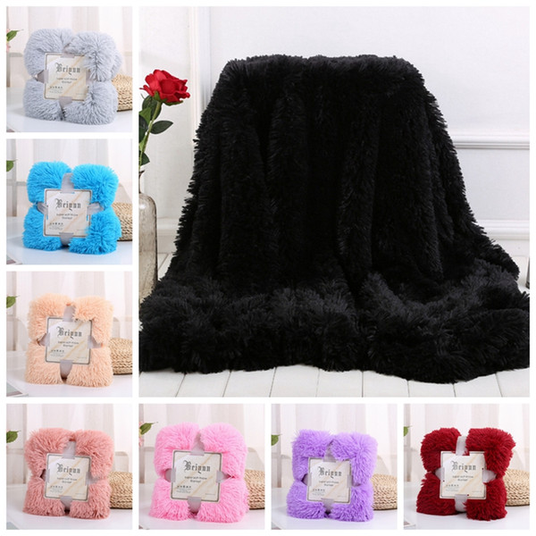 Fleece Blankets Fluffy Plush Throw Blanket Air Conditioning Blanket Solid Wedding Bedspreads Bedding Supplies 13 Colors Free Shipping YW1571