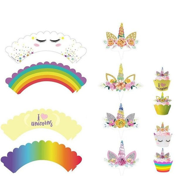24pcs/set Toppers Cartoon Rainbow Unicorn Cupcake Cake Baking Cup Wrappers Wedding Birthday Party Decorations Tools Hot Sale 6 8rz CY