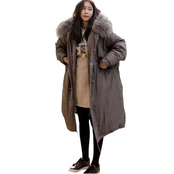 OLGITUM 2018 Winter Coat Women Large Fur Collar Hooded Long Jacket Thick Warm Korean Padded Parka Oversized Military Parka CC026 S18101501