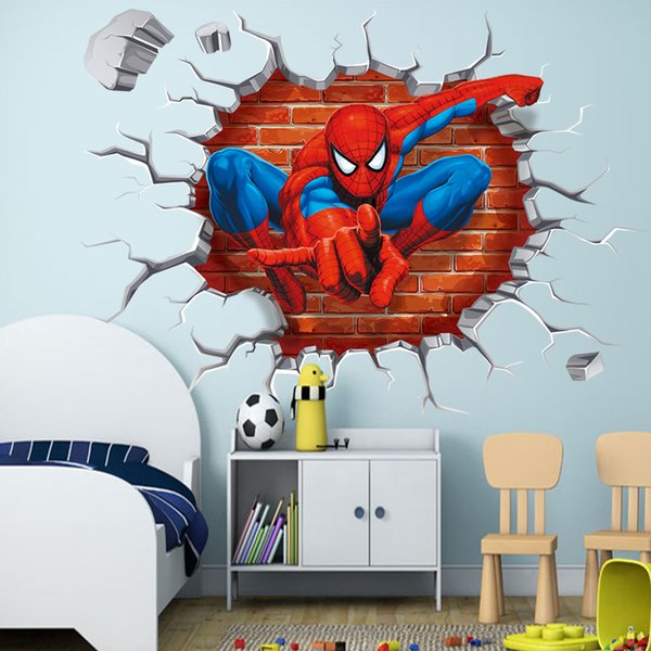 45*50cm 3D Hole Famous Cartoon Movie Spiderman Wall Stickers For Kids Rooms Boys Gifts Through Wall Decals Free Shipping
