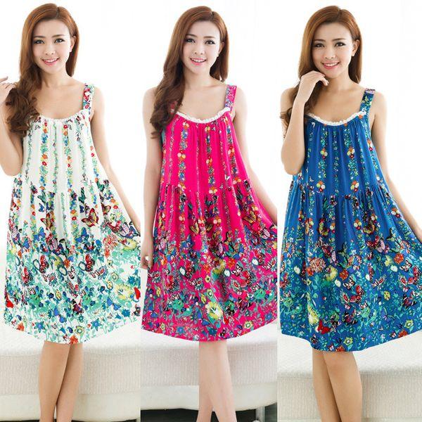 top popular Plus Size Nightgowns Women Sexy Spaghetti Strap Night Dress Summer Elegant Night Gowns Ladies Sleepshirts Girl Cotton Sleepwear 2019