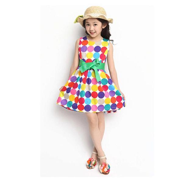 girls dresses summer 2017 Color Polka Dot Kids Sleeveless Dress Bow Swing dress cotton children clothing kids dresses for girls
