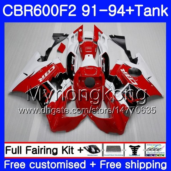 Body For HONDA CBR 600F2 FS CBR600RR CBR600 F2 91 92 93 94 1MY.34 CBR600FS CBR 600 F2 CBR600F2 1991 1992 1993 1994 Fairing kit Factory red