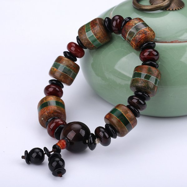 Original Natural Agate Beads Bracelets Crystal For Men Bracelet Vintage Reiki Male Power Bracelet Healing Balance Prayer Gift