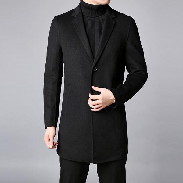 Großhandel 2018 Winter Mode Marke Mantel Männer Schwarz Slim Fit Pea Coat Warme Jacke Wollmischungen Mantel Lange Beiläufige Graben Männer Kleidung