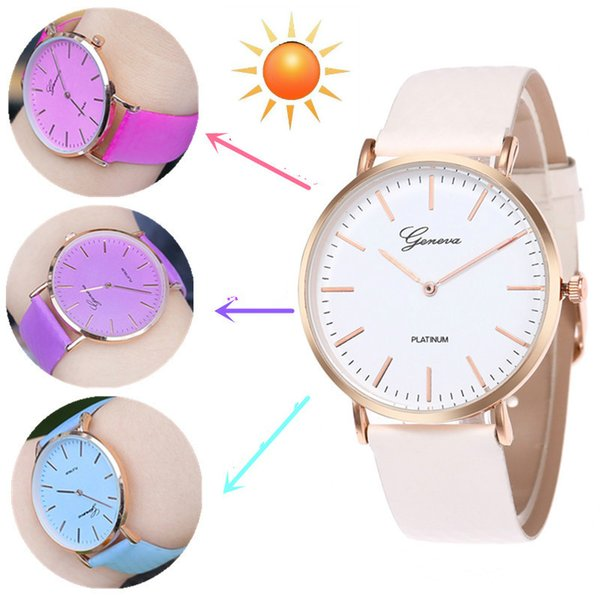 Nueva moda Simple Style Cambio de temperatura Color Mujeres reloj Sun UV Color Change Hombres Mujeres Cuarzo Relojes de pulsera