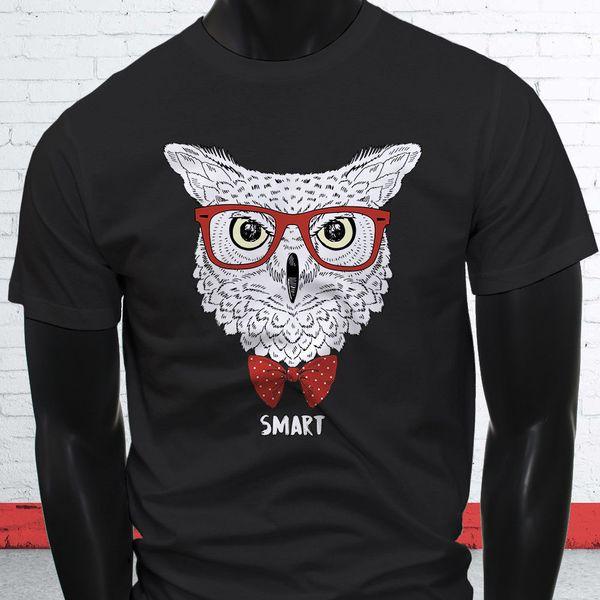 Hipster Baykuş Papyon Akıllı Sevimli Vahşi Hayvan Komik Mens Siyah T-Shirt Kısa Kollu Artı Boyutu t-shirt renk jersey Baskı t shirt