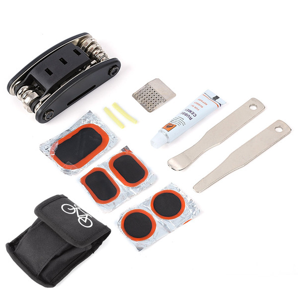 Multifunctional Bicycle Tyre Repair Tool Set Glue Wrench Outdoor Kit Box Kit Set Multitool Cycling Tire Repair Service Portable Tools