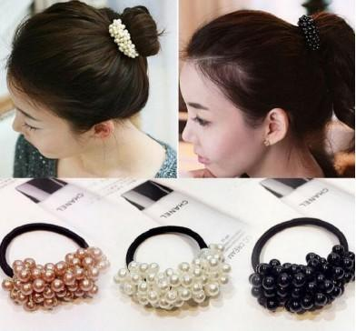 fashion plastic hair rope,pearls beads band hair headband ponytail holders, hair accessories for girl women