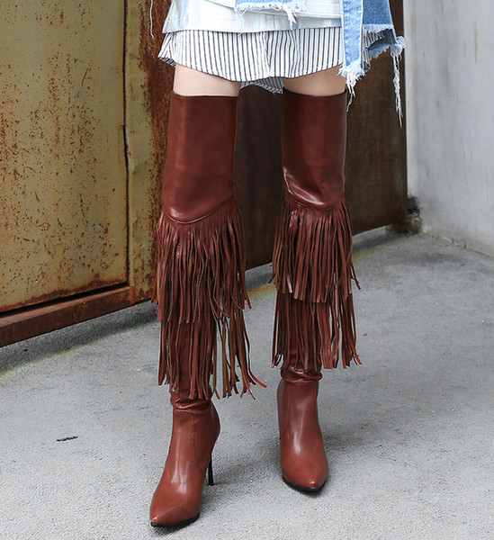 Women over the knee shoes fringed boots heels For women boots 2 layers tassels to high heels Moccasins with Thigh-High Boots . XZ-093